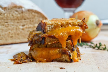 Beer Bread Caramelized Onion Grilled Cheese Sandwich
