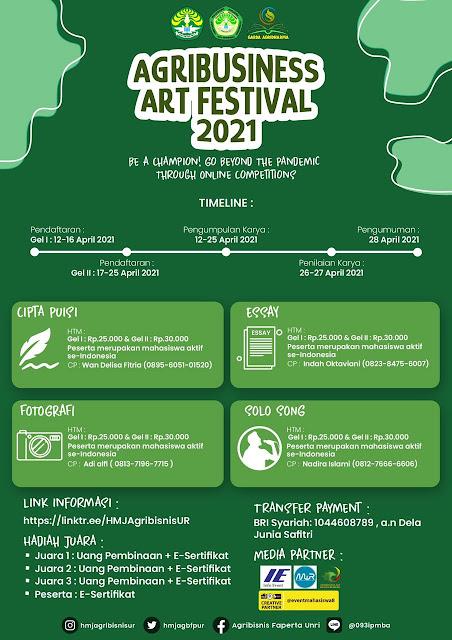 Agribusiness Art Festival 2021 Ada Lomba Cipta Puisi dan Essay