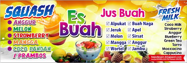 Desain Banner Spanduk Es buah dan Jus buah lengkap cdr