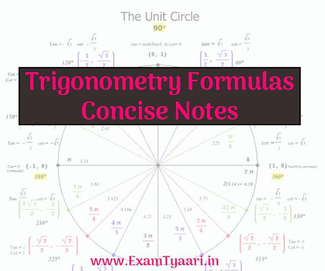 Maths Trigonometry Notes Formulas Questions [PDF Download] - Exam Tyaari
