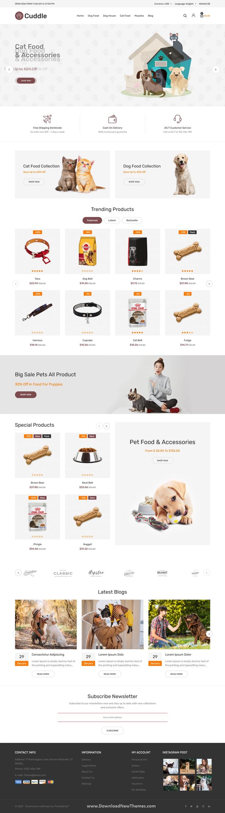 Pet shop Responsive Prestashop Theme