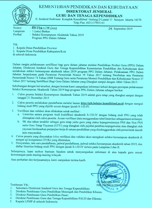 Pendaftaran Calon Peserta Pretest PPGDJ 2019