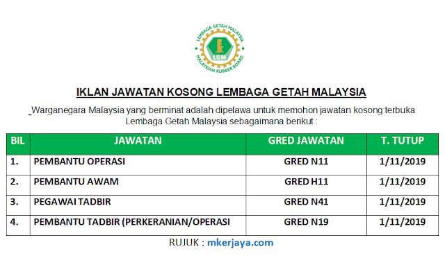 Lembaga Getah Malaysia Membuka Pelbagai Kekosongan Jawatan 2019 Malaysia Kerjaya
