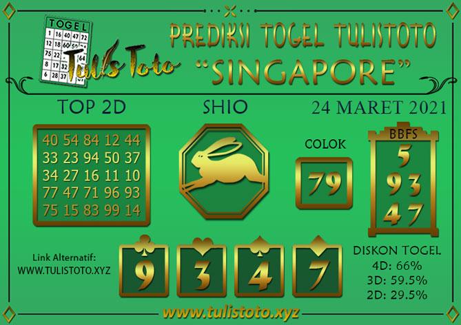 Prediksi Togel SINGAPORE TULISTOTO 24 MARET 2021