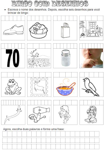 Bingo com desenhos SA - SE - SI - SO - SU