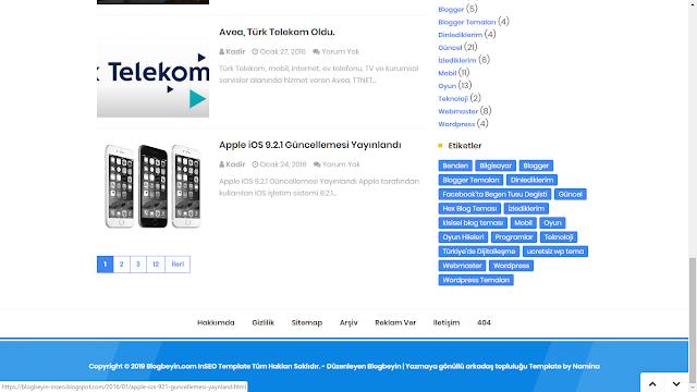 Ücretsiz Türkçe InSEO Blogger teması