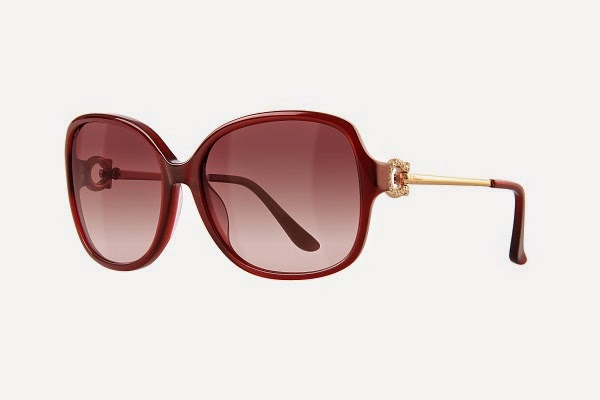 39e723fede1  SF671SR  Oversized butterfly silhouette is in a zyl metal combination  universal fit frame. A crystal-embellished Gancino buckle detail forms the  hinge.