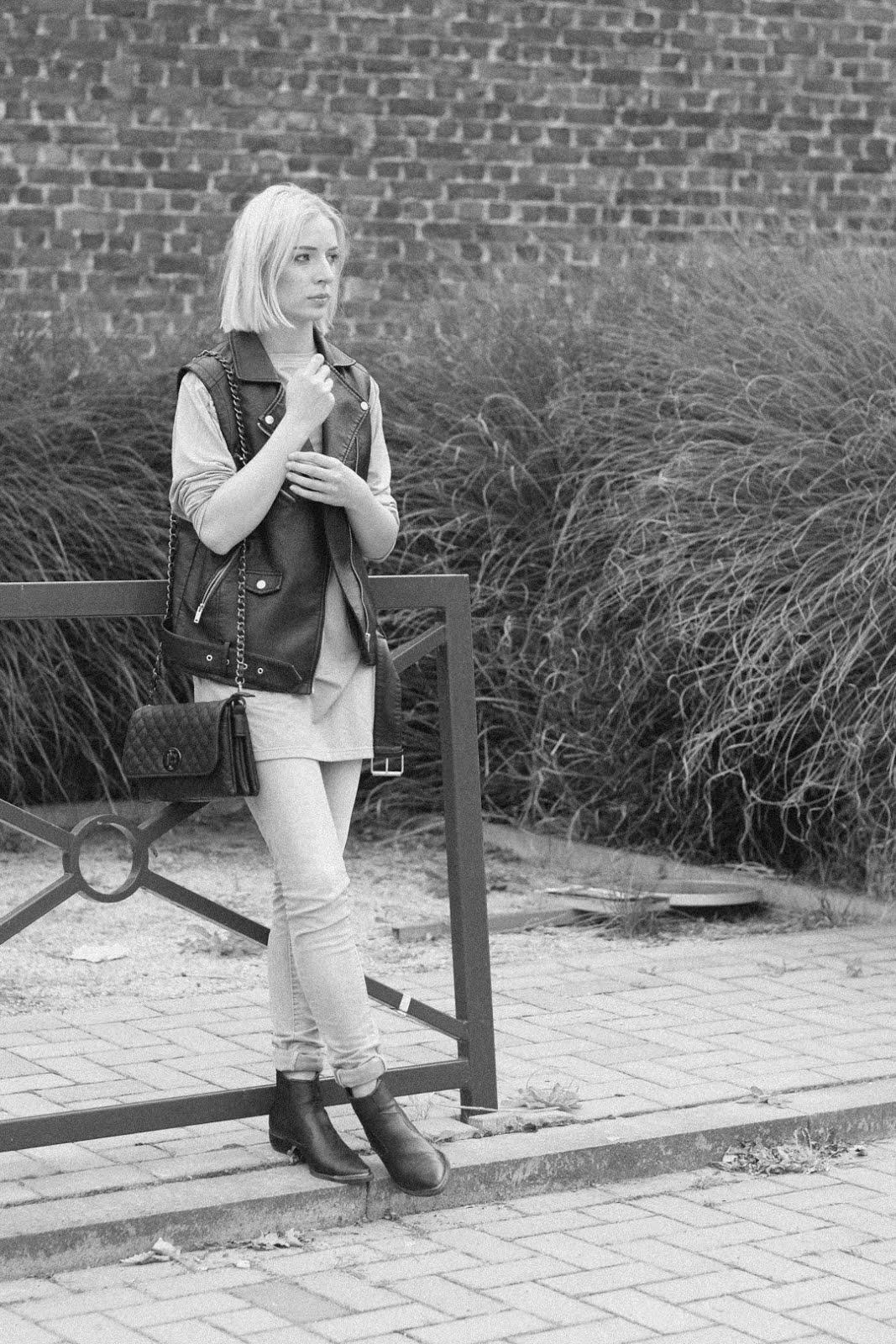Biker waistcoat, jbc, grey jeans, marc b yaz bag, chanel inspired