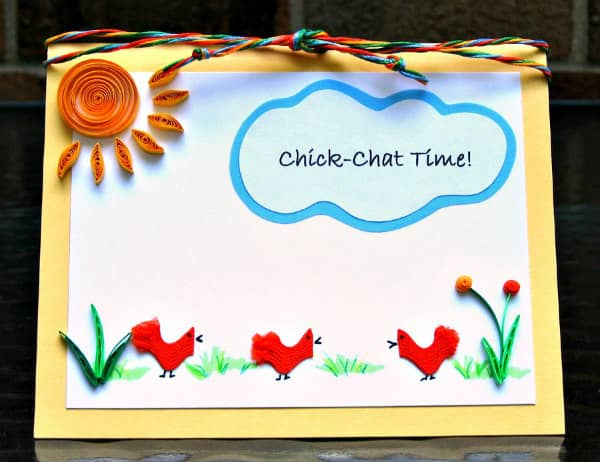 handmade card with rick rack chicks, quilled flowers and sun