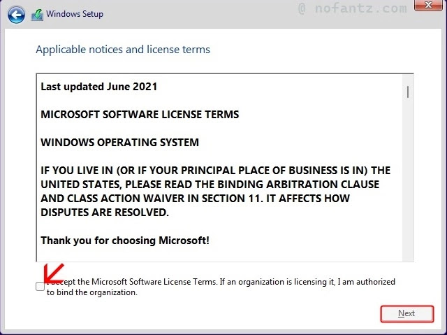 I accept the license terms option