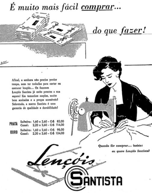 Propaganda dos Lençóis Santista promovendo sua linha de enxovais no começo dos anos 50