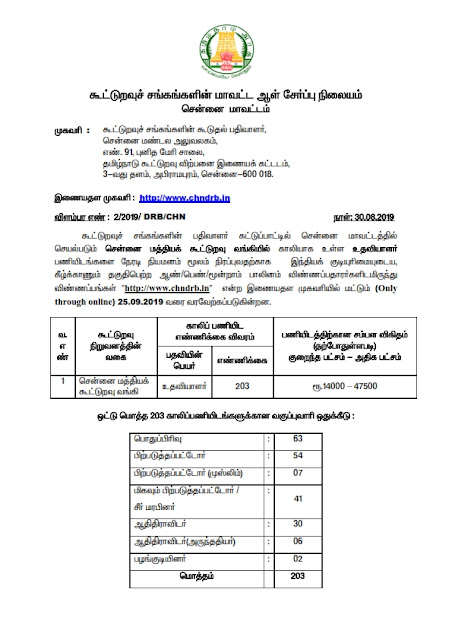 Recruitment of Assistant posts in Chennai District Central Cooperative Bank ,India