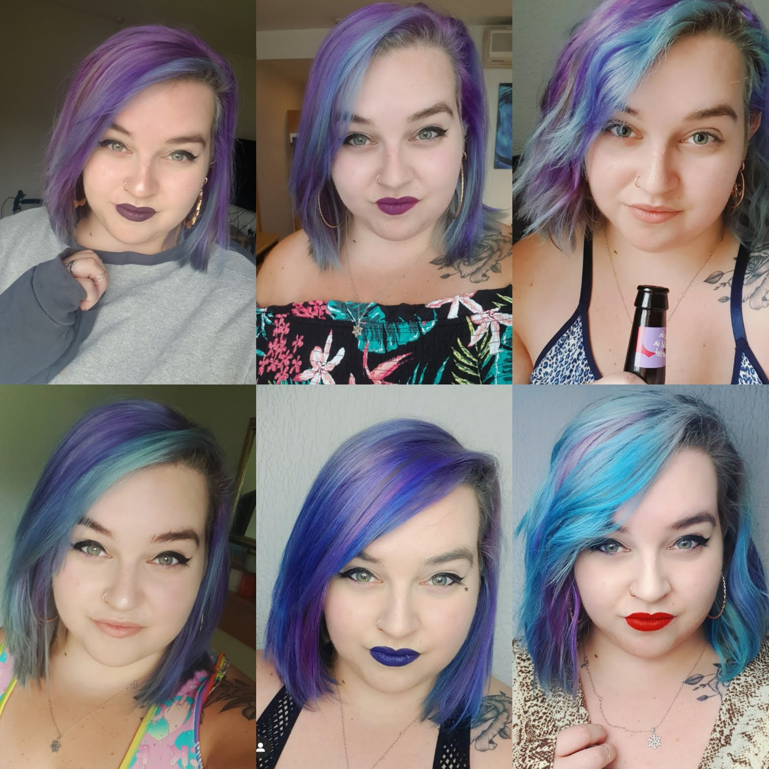 6 photos of beth showing her with various colour hair including pink, purple and blue