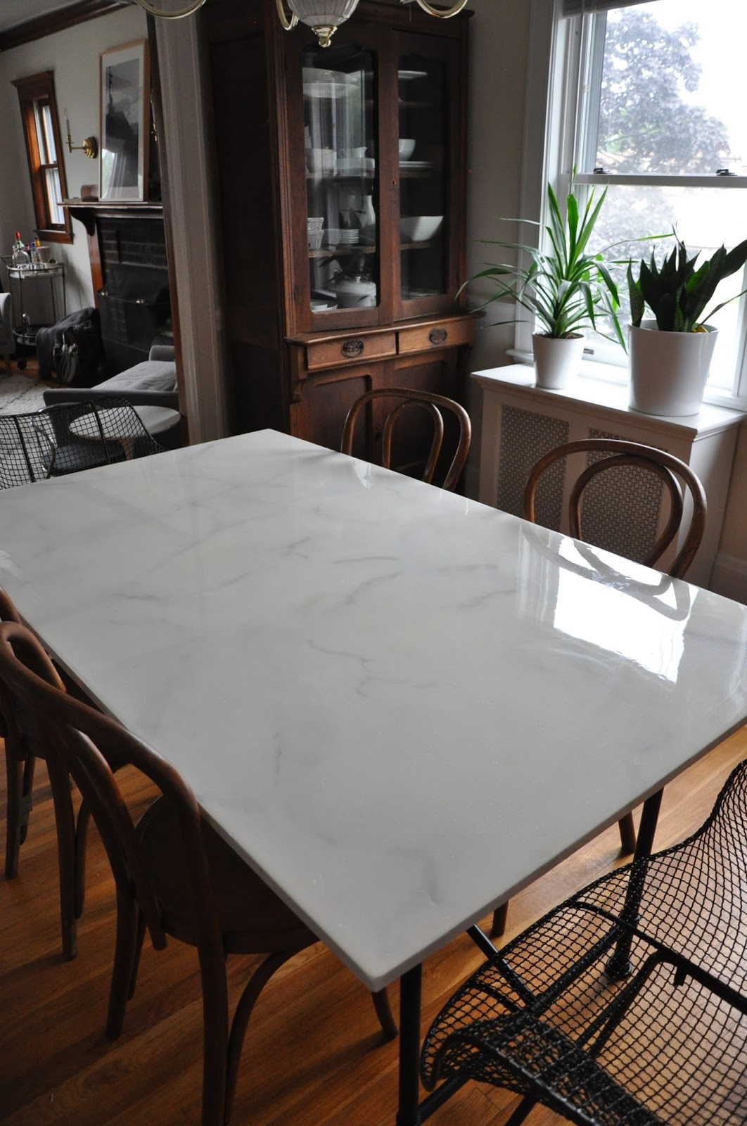 faux marble dining table RestlessOasis: Faux Marble/Ikea Hack Dining Table  a year in review faux marble dining table