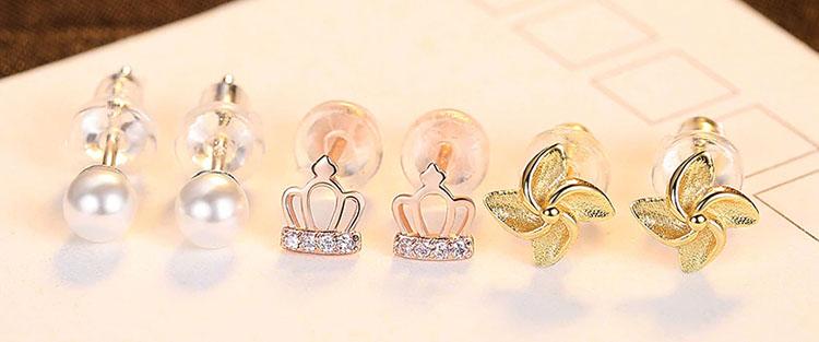 皇冠‧珠珠‧風車 925純銀耳環