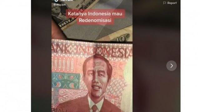 Uang Gambar Presiden Jokowi, Viral Video Kabar Redenominasi Akhirnya Berujung Minta Maaf