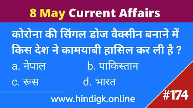 8 May 2021 Current Affairs In Hindi
