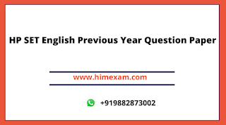 HP SET English Previous Year Question Paper