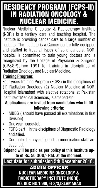 FCPS Jobs in NORI Islamabad