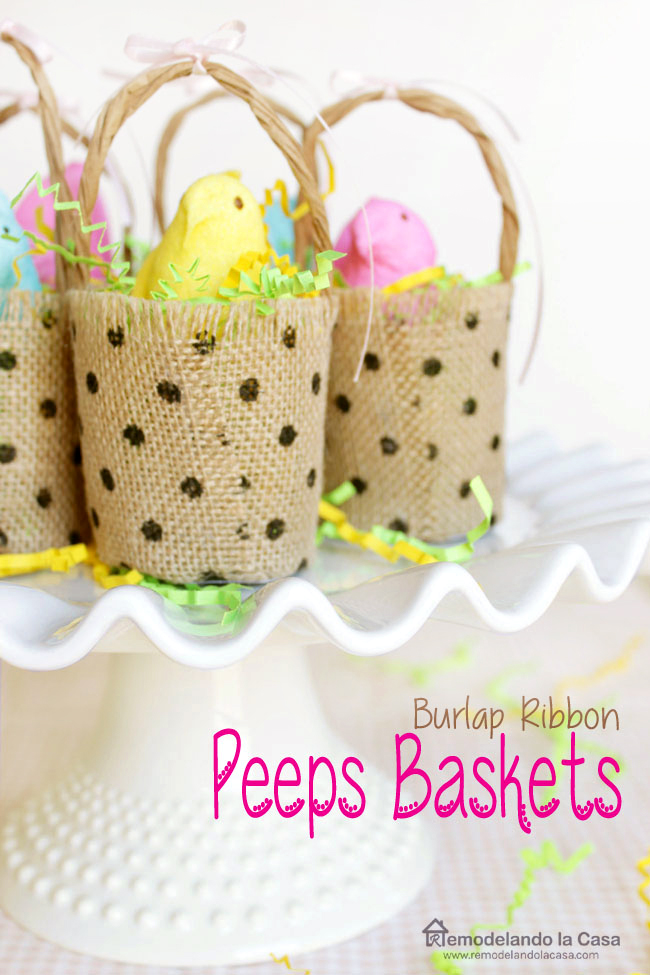 little baskets made of burlap ribbon to decorate for Spring