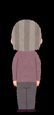 後ろから見たお婆さんのイラスト(ショートヘア)