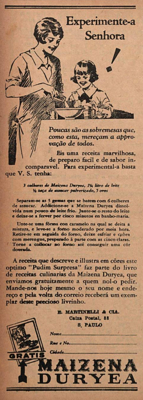 Anúncio da Maizena veiculada em 1930 promovendo seu uso em receitas