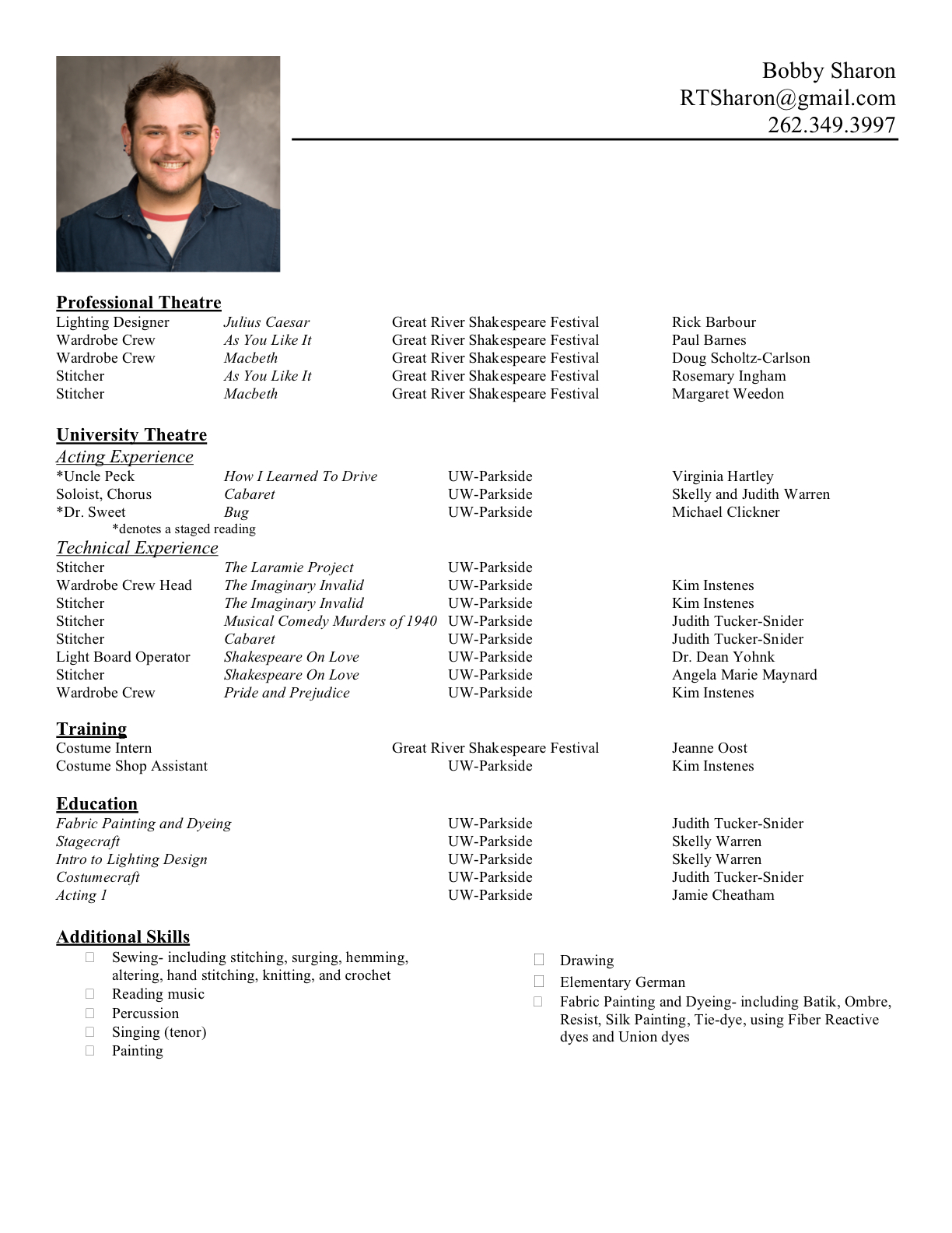 Examples of current resumes
