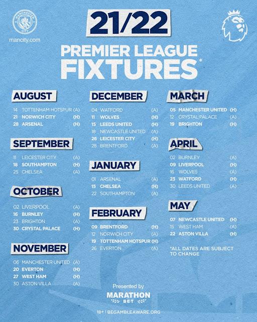 جدول مباريات مانشستر سيتي فى الدوري الانجليزي للموسم الجديد 2021/2022
