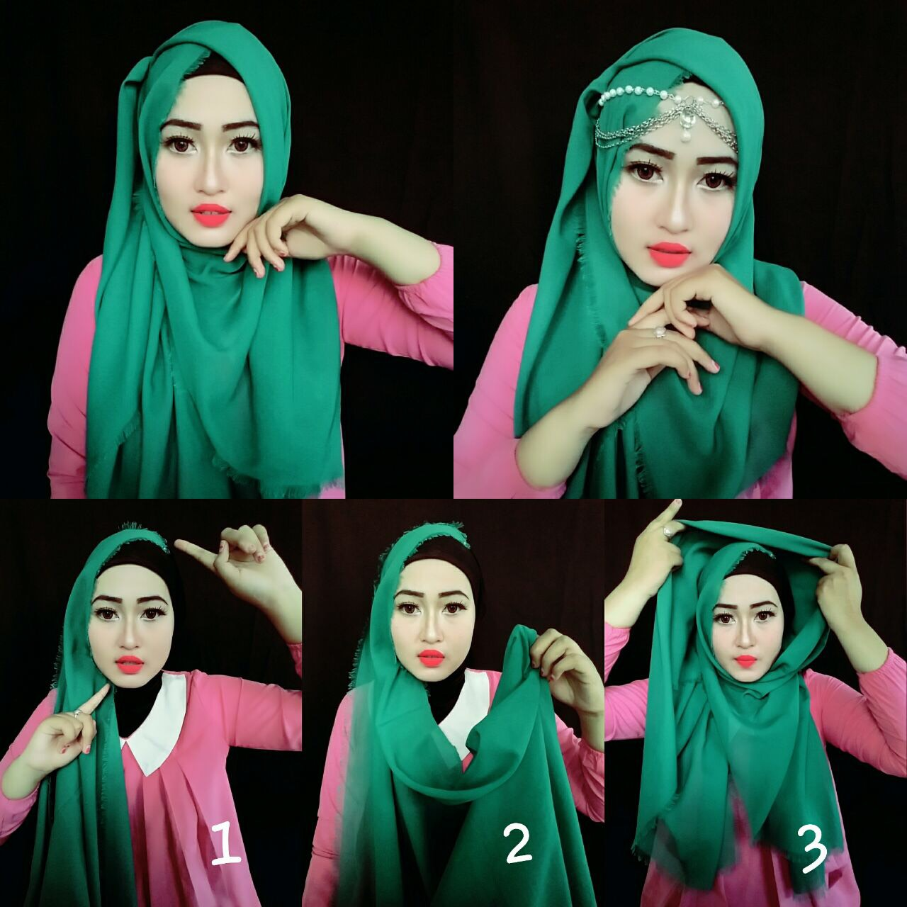 Tutorial Hijab Pashmina Rawis Simple