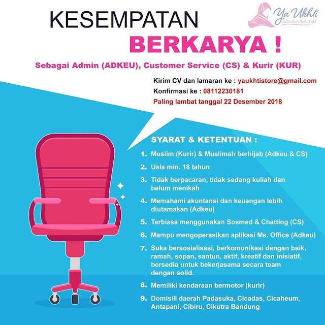 Lowongan Kerja Admin, CS dan Kurir di Bandung