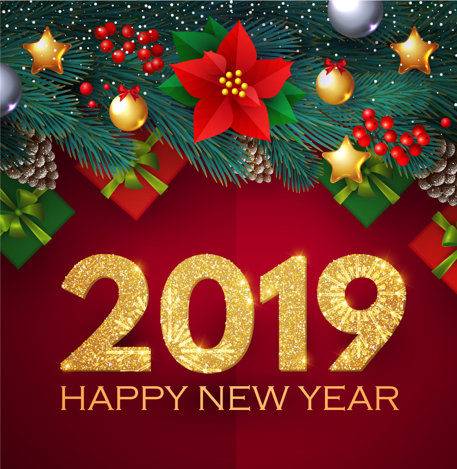 Photos Happy New year free vector download 2019