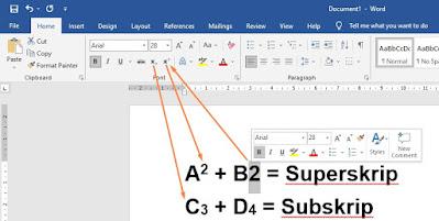 Cara Membuat Superskrip dan Subskrip di MS Word