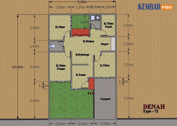 Rumah Minimalis-Gambar Denah Type 72