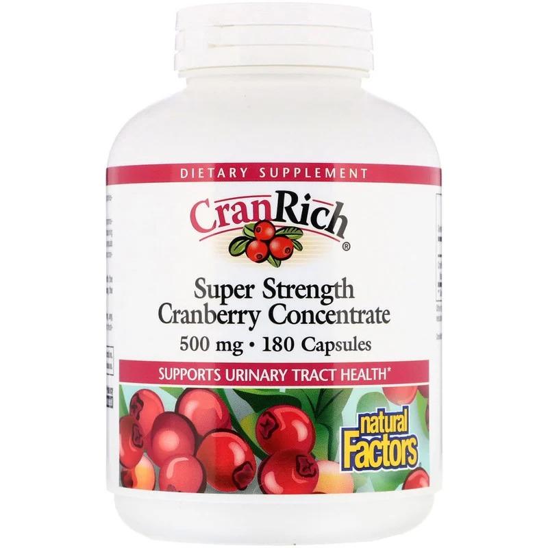 Natural Factors, CranRich, суперсила, концентрат клюквы, 500 мг, 180 капсул