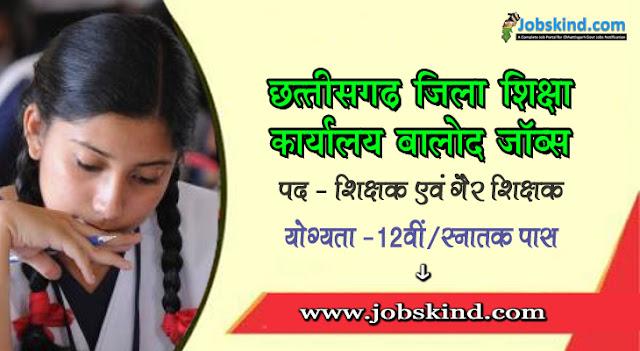 DEO Balod Recruitment 2020-21 Chhattisgarh Govt Job Kind Advertisement Govt Eng. Med. School Pawaras Balod Vacancy Jobskind.Com All Sarkari Naukri Bha