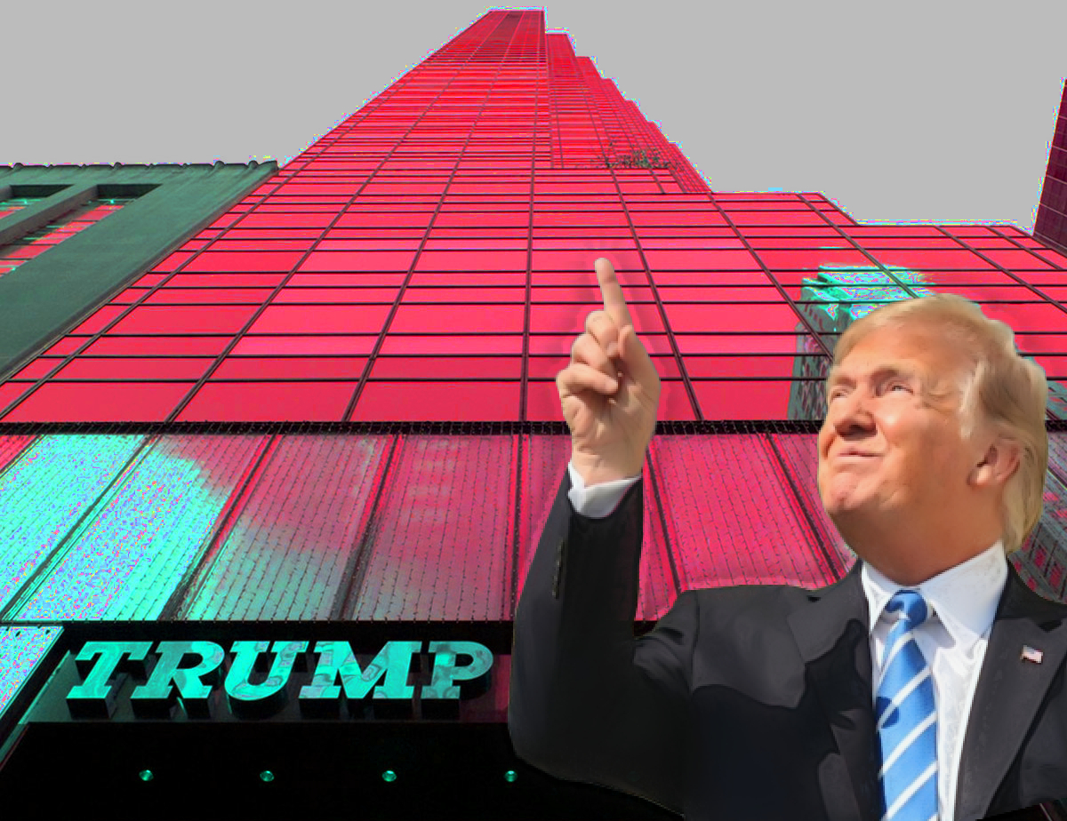 Trump Tower meeting, Donald Trump pointing up in front of tall Trump Tower building