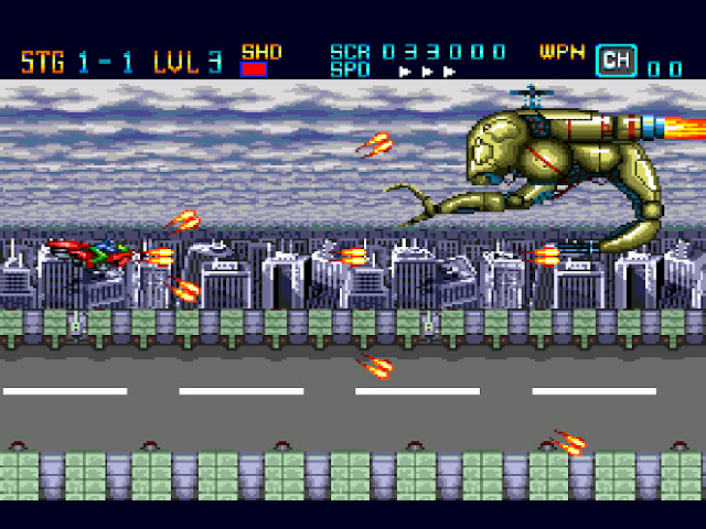 A red ship shoots at a boss character in a city during the day.