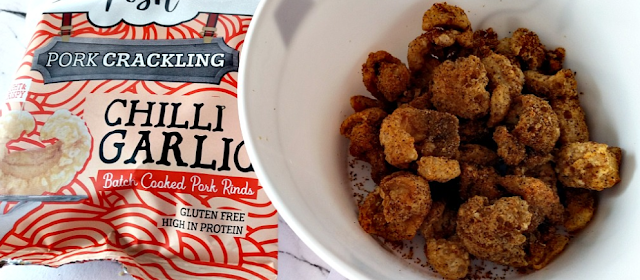 A packet of Chilli and Roasted Garlic Pork Crackling