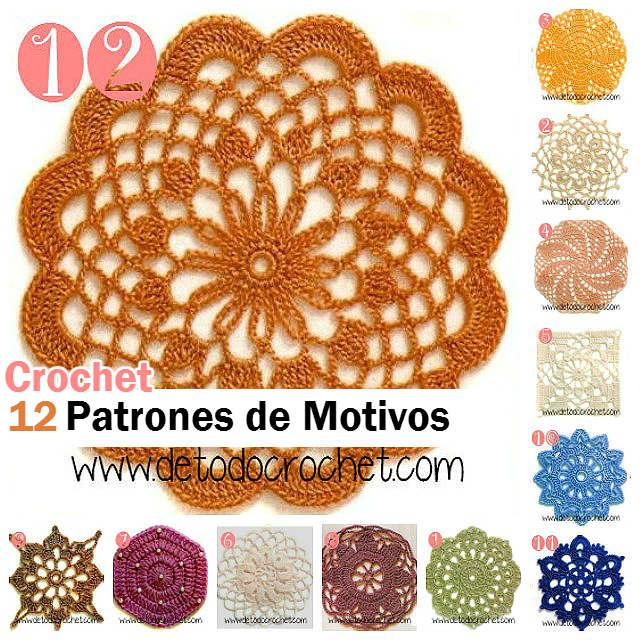 12 Patrones de Motivos Crochet / Descarga gratis | Todo crochet