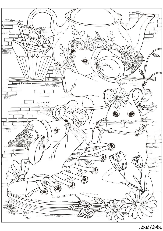 Tranh tô màu ba chú chuột và chiếc giày