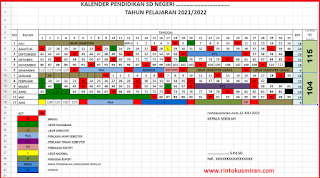 KALENDER PENDIDIKAN TAHUN PELAJARAN 2021/2022