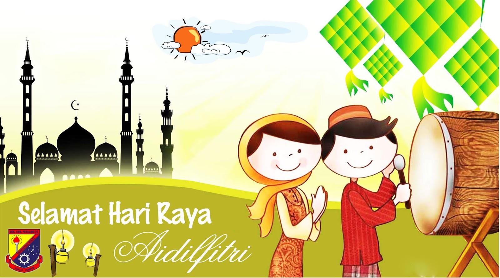 90 Gambar Kartun Perayaan Hari Raya Idul Fitri Lengkap Cikimm Com