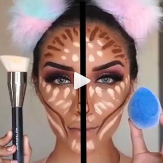 Tendencias de maquillaje para chicas en Instagram - Trucos para Dibujar contorno de rostro con puntos usando brocha y esponja