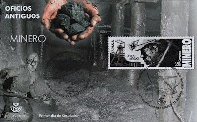 Sobre matasellado de presentación del sello de El Minero en el Pozo Sotón