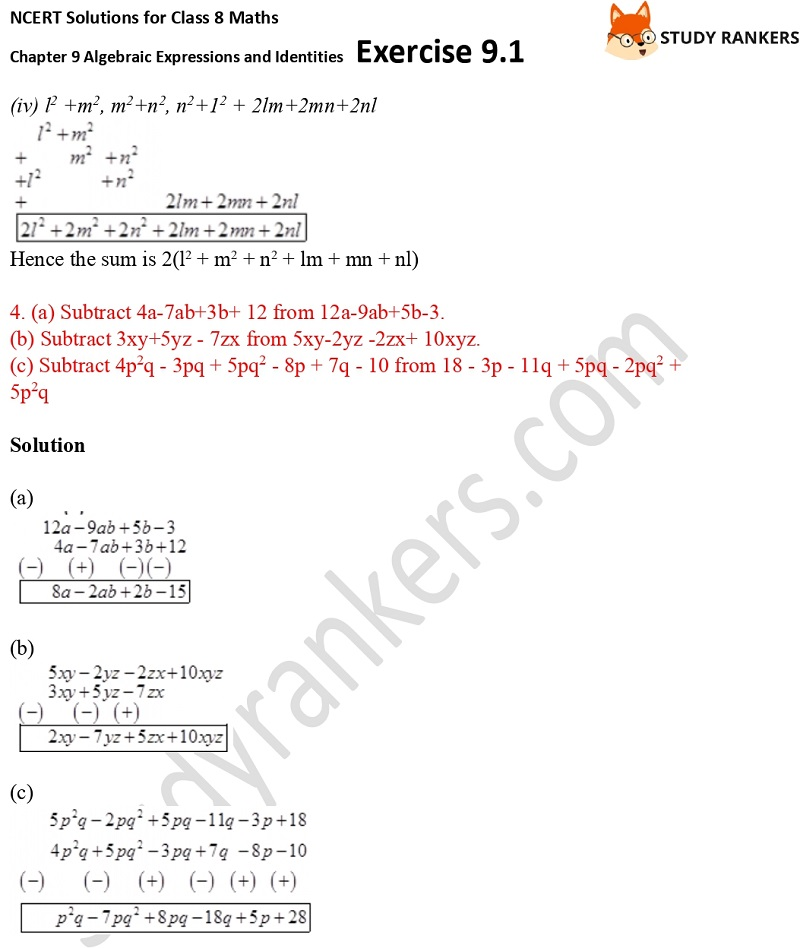 NCERT Solutions for Class 8 Maths Ch 9 Algebraic Expressions and Identities Exercise 9.1 1