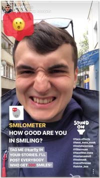 "Face Filter Game Instagram ""Smileometer"""