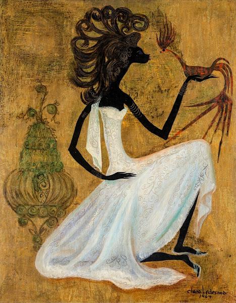 Mujer con jaula, Clara Ledesma, 1964