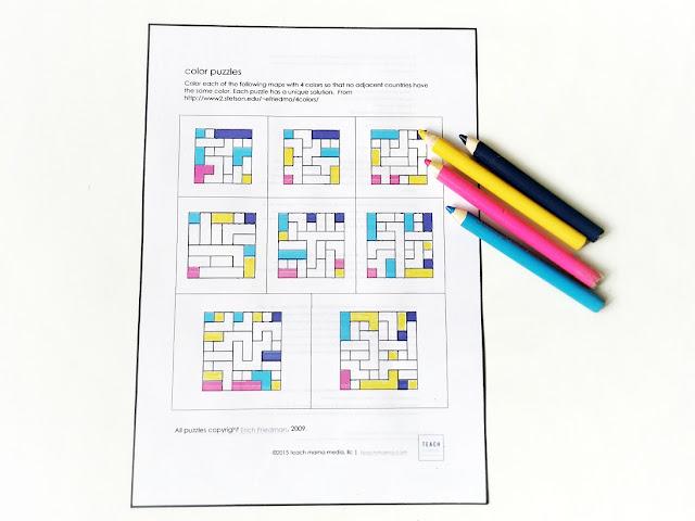 na kartce z osiem plansz z zadaniami logicznymi w różnym stopniu trudności. w niektórych polach mamy już oznaczone kolory a pozostałe należy samodzielnie pokolorować tak aby kolory się ze sobą nie stykały