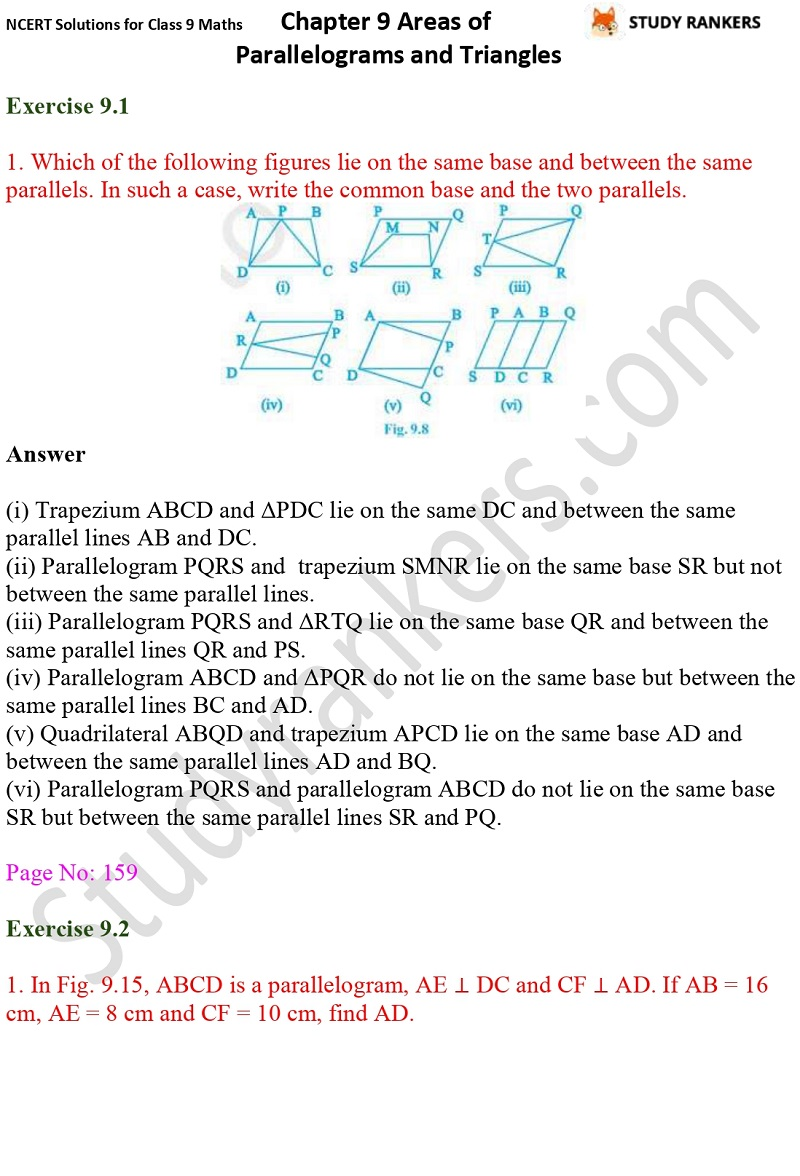 NCERT Solutions for Class 9 Maths Chapter 9 Areas of Parallelograms and Triangles Part 1