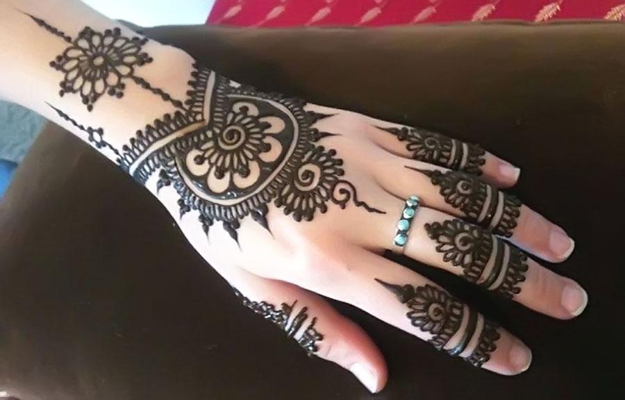 Back Hand Jewellery Mehndi Design for Girls